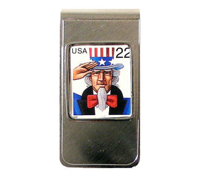 uncle sam postage stamp money clip new orleans cufflinks