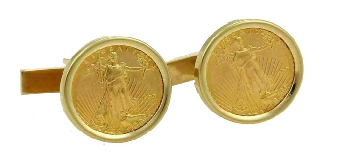 1/4 OZ AMERICAN GOLD EAGLE CUFFLINKS NEW ORLEANS CUFFLINKS