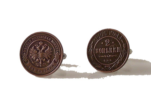 ROMANOV DYNASTY 2 KOPEK COPPER COIN CUFFLINKS NEW ORLEANS CUFFLINKS