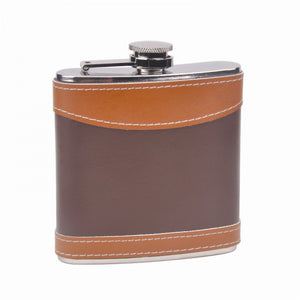 6 OZ 2 TONE LEATHER STAINLESS STEEL FLASK