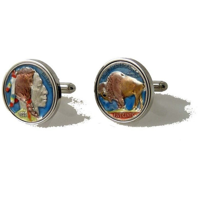 HAND ENAMELED BUFFALO NICKEL CUFFLINKS New Orleans Cufflinks