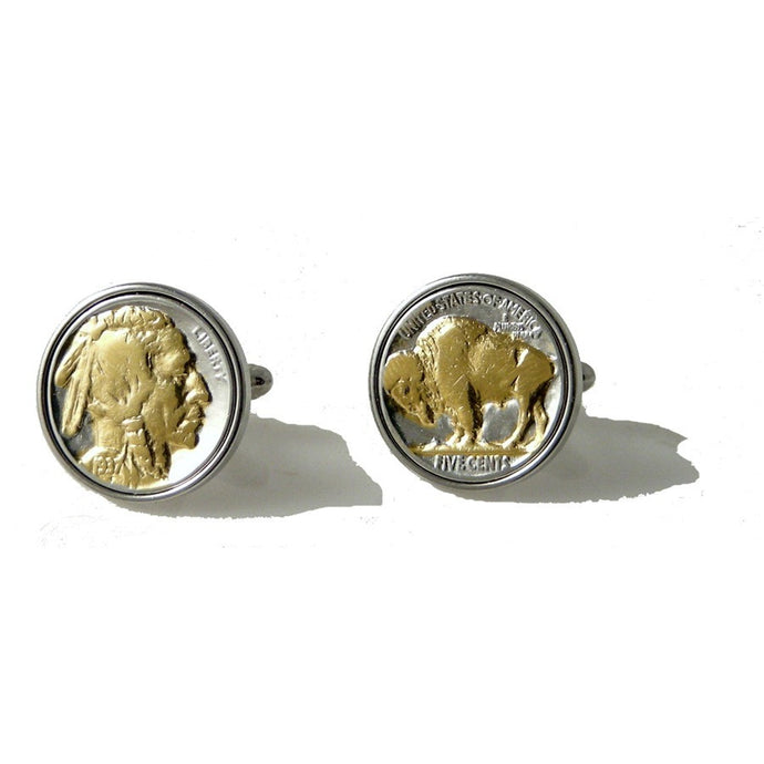 AUTHENTIC TWO TONE BUFFALO NICKEL CUFFLINKS New Orleans Cufflinks