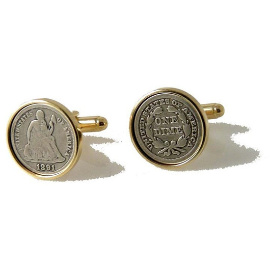 AUTHENTIC SEATED LIBERTY DIME CUFFLINKS New Orleans Cufflinks