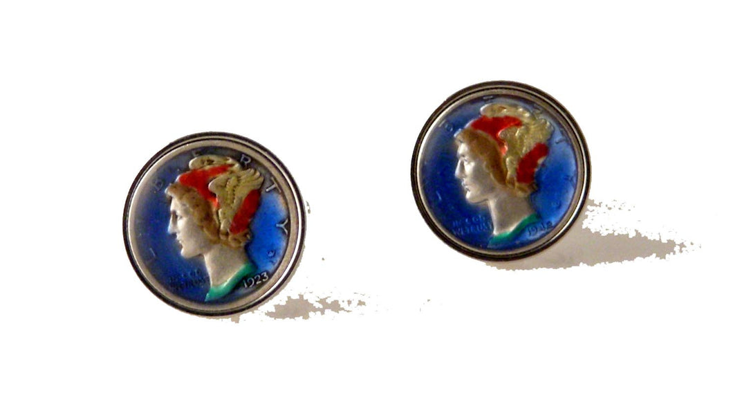 AUTHENTIC HAND ENAMELED MERCURY DIME CUFFLINKS New Orleans Cufflinks