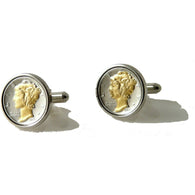 AUTHENTIC TWO TONE MERCURY DIME CUFFLINKS New Orleans Cufflinks