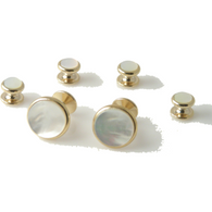 CLASSIC GOLD ROUND  STUD SET WITH MOTHER OF PEARL New Orleans Cufflinks