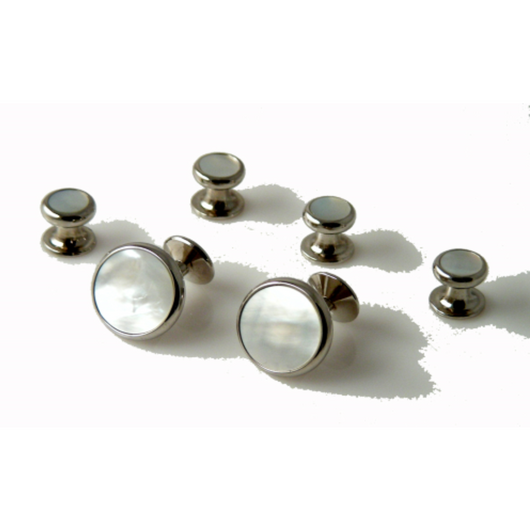 CLASSIC ROUND SILVER  STUD SET WITH MOTHER OF PEARL New Orleans Cufflinks