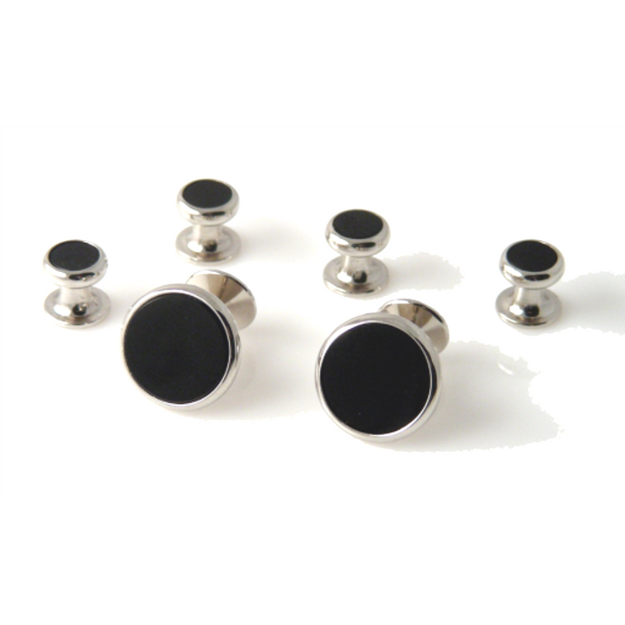 CLASSIC SILVER ROUND STUD SET WITH ONYX New Orleans Cufflinks