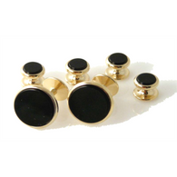 CLASSIC GOLD ROUND  STUD SET WITH ONYX New Orleans Cufflinks