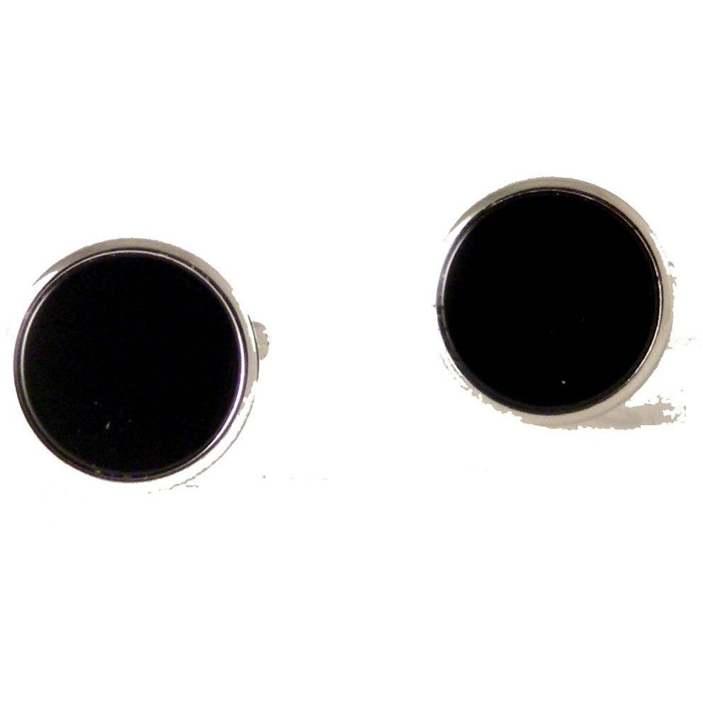SILVER CLASSIC CUFFLINKS WITH ONYX