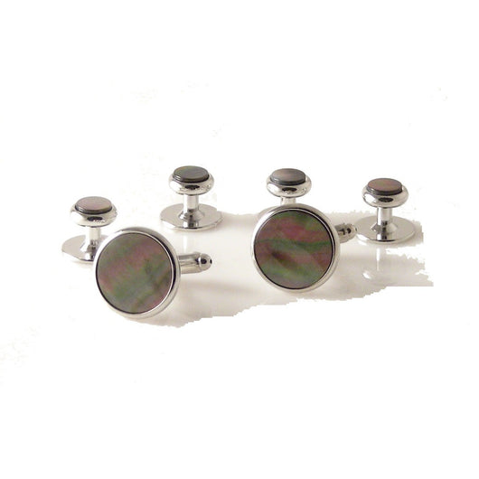 CLASSIC SILVER ROUND STUD SET WITH SMOKED MOTHER OF PEARL New Orleans Cufflinks