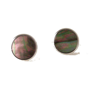 SILVER CLASSIC CUFFLINKS WITH SMOKED MOTHER OF PEARL