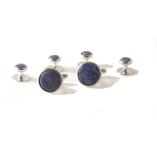 CLASSIC SILVER ROUND STUD SET WITH SODALITE New Orleans Cufflinks