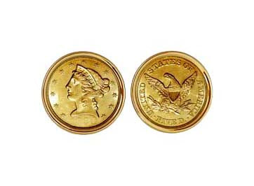 $5.00 LIBERTY GOLD HALF EAGLE CUFFLINKS NEW ORLEANS CUFFLINKS