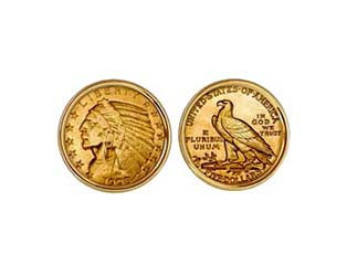 $5.00 INDIAN GOLD QUARTER EAGLE CUFFLINKS NEW ORLEANS CUFFLINKS