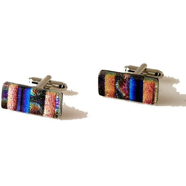MODERN STRIPE HAND CRAFTED GLASS CUFFLINKS New Orleans Cufflinks