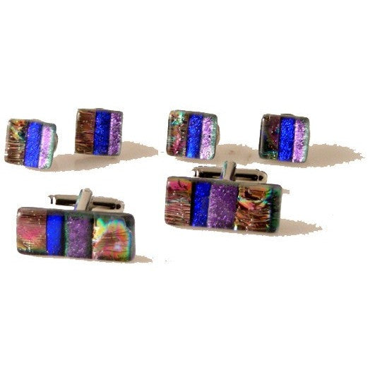 MODERN STRIPE HAND CRAFTED GLASS STUD  SET New Orleans Cufflinks