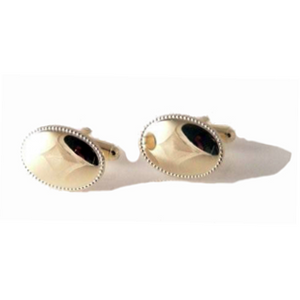 GOLD BEADED EDGE OVAL CUFFLINKS New Orleans Cufflinks