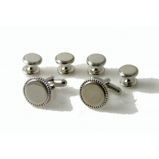 SILVER BEADED EDGE STUD SET