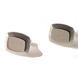 SILVER BEVELED CUSHION CUFFLINKS