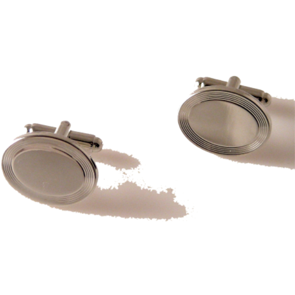SILVER BEVELED OVAL CUFFLINKS