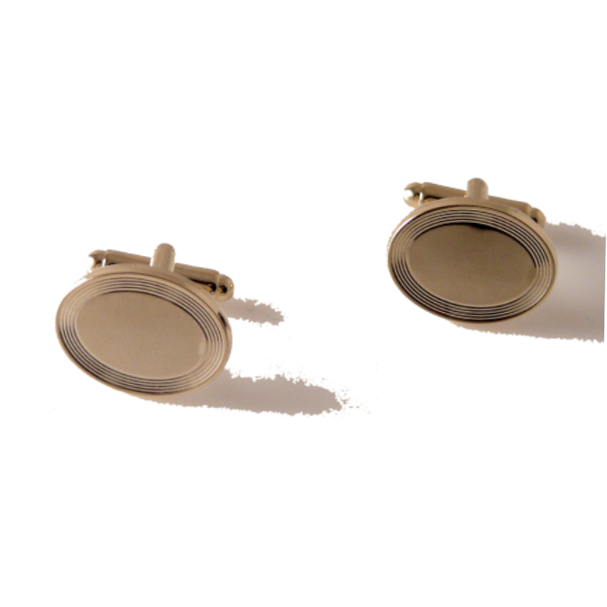 GOLD BEVELED OVAL CUFFLINKS