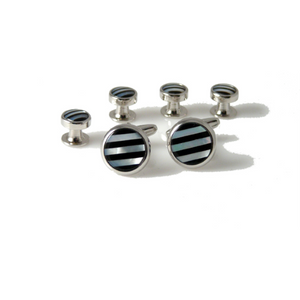 SILVER ONYX AND MOTHER OF PEARL STRIPE CUFFLINK AND TUXEDO STUD SET