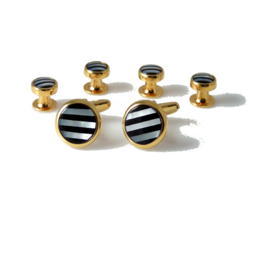GOLD ONYX AND MOTHER OF PEARL STRIPE STUD SET New Orleans Cufflinks