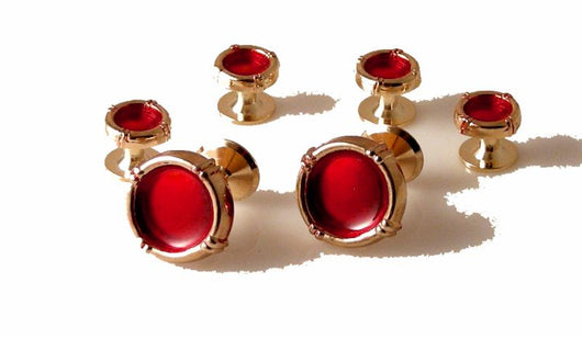 GOLD VINTAGE BORDER STUD SET WITH RED ENAMEL new orleans cufflinks