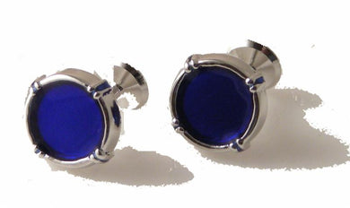 SILVER VINTAGE BORDER CUFFLINKS WITH BLUE ENAMEL new orleans cufflinks