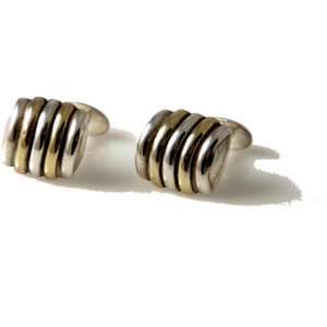 .925 STERLING SILVER AND VERMEIL BEEHIVE CUFFLINKS New Orleans Cufflinks