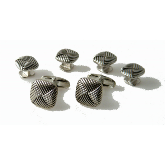 SILVER BASKETWEAVE CUFFLINK AND TUXEDO STUD SET