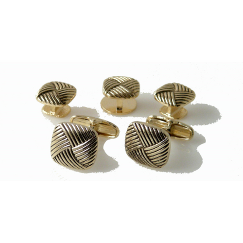 GOLD BASKETWEAVE STUD SET NEW ORLEANS CUFFLINKS
