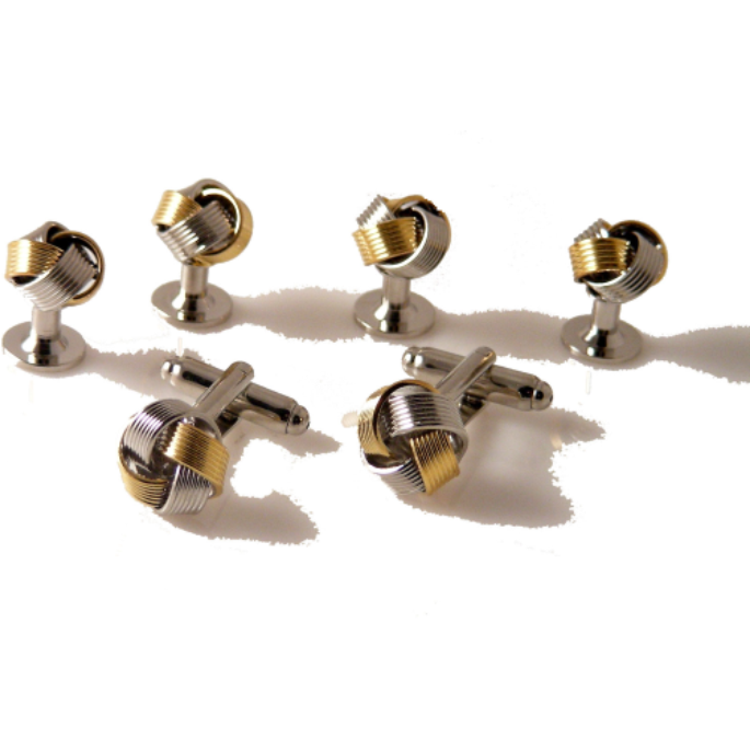 TWO TONE KNOT CUFFLINK AND TUXEDO  STUD SET