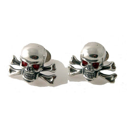 .925 STERLING SILVER SKULL CUFFLINKS WITH RED CRYSTAL EYES New Orleans Cufflinks