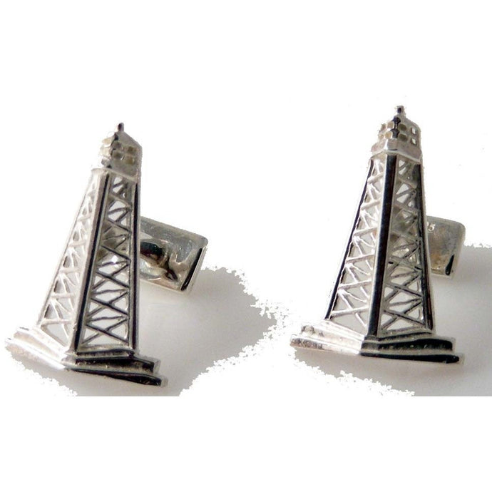 STERLING SILVER OIL RIG CUFFLINKS New Orleans Cufflinks