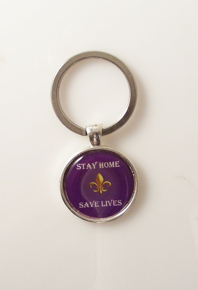 PURPLE AND GOLD FLEUR DI LIS STAY HOME SAVE LIVES KEY RING