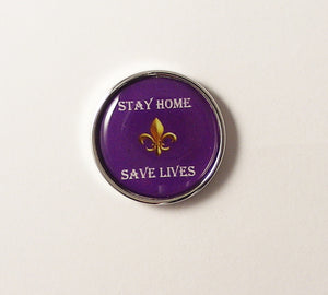 PURPLE AND GOLD FLEUR DI LIS STAY HOME SAVE LIVES PIN NEW ORLEANS CUFFLINKS