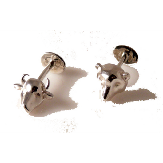 STERLING SILVER BULL AND BEAR CUFFLINKS New Orleans Cufflinks