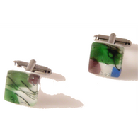 WATERCOLOR HAND CRAFTED GLASS CUFFLINKS