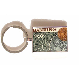 1975 BANKING POSTAGE STAMP KEY RING New Orleans Cufflinks