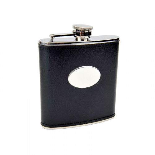 6 OZ STAINLESS STEEL FLASK WITH BLACK MOC LEATHER