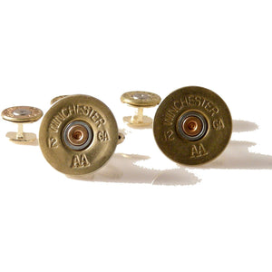 AUTHENTIC 12 GAUGE BRASS SHOTGUN SHELL STUD SET New Orleans Cufflinks