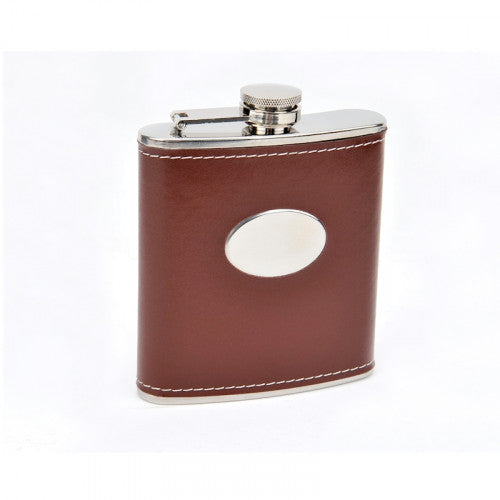 6 OZ STAINLESS STEEL FLASK WITH BROWN MOC LEATHER