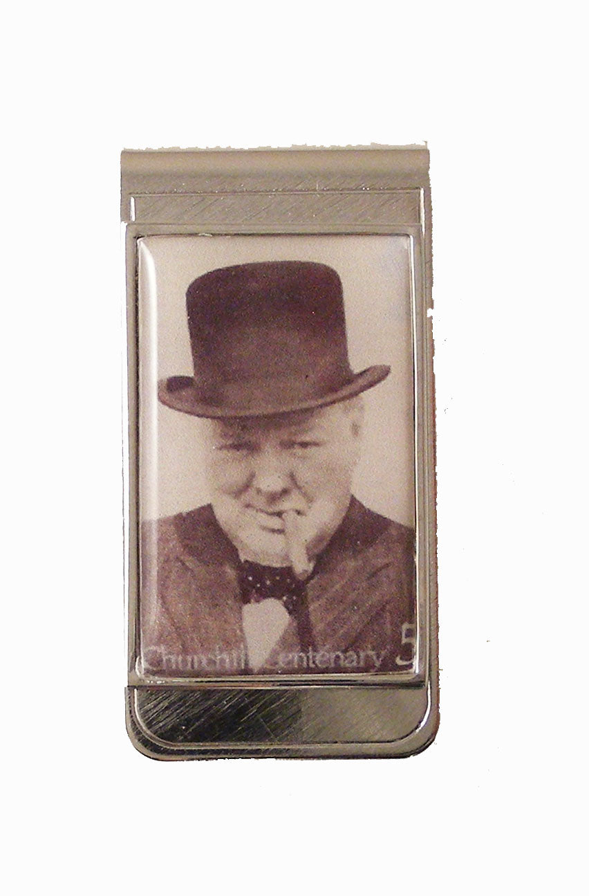 winston churchill postage stamp money clip new orleans cufflinks