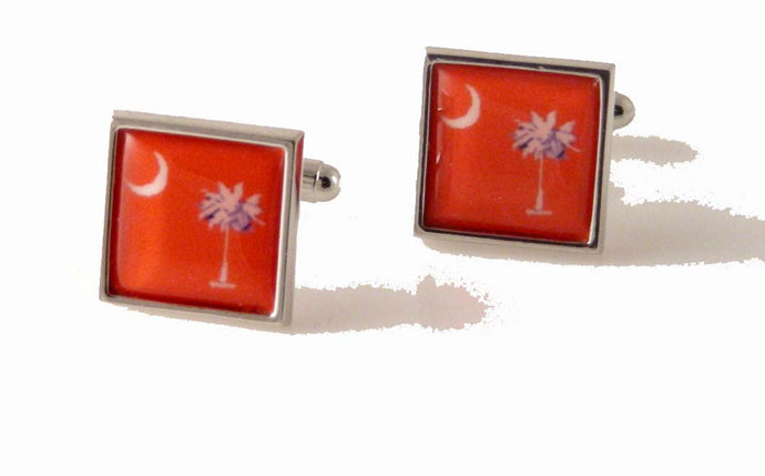 orange south carolina flag cufflinks new orleans cufflinks