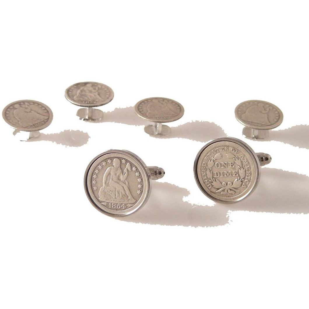 SEATED LIBERTY DIME CUFFLINK AND TUXEDO STUD SET New Orleans Cufflinks