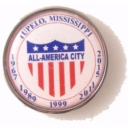 ROUND SILVER CUSTOM LOGO LAPEL PIN New Orleans Cufflinks