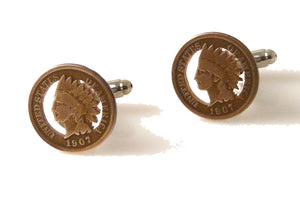 ARTISAN CUT INDIAN HEAD PENNY CUFFLINKS NEW ORLEANS CUFFLINKS