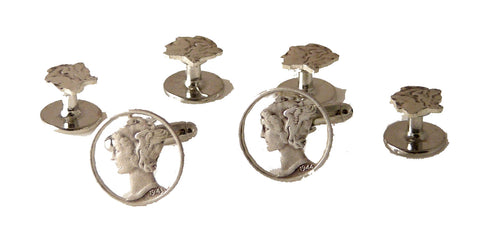 MERCURY DIME STUD SET NEW ORLEANS CUFFLINKS